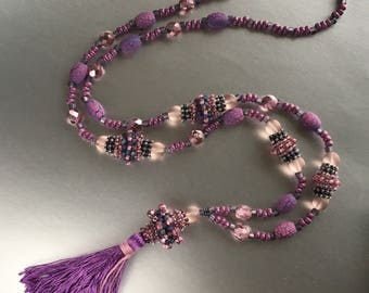 Mauve Long Beaded Necklace with Tassel