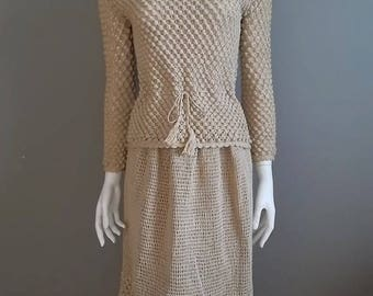 Summer Sale Crochet dress nude high relief hand made knitted vintage
