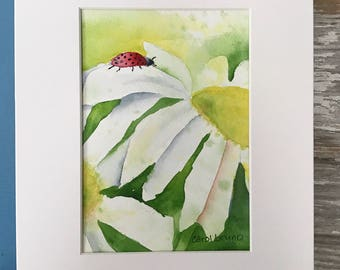 Painting of Daisies and a Ladybug -Floral-Watercolor Painting-Daisy Painting-Flowers