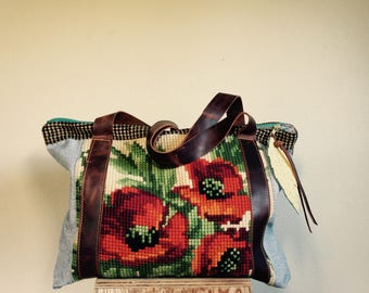 NEW ///XL Oxford Sling in Vintage Needle Work with Mixed Textiles and Horween Leather Tote Straps