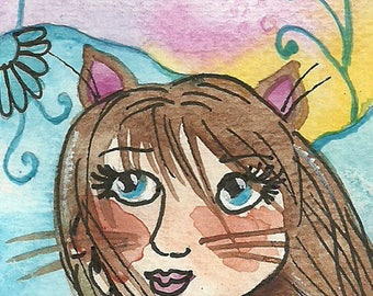 Cat Dream ACEO Original Illustration Watercolor Fantasy Painting ACEO Small Format Art