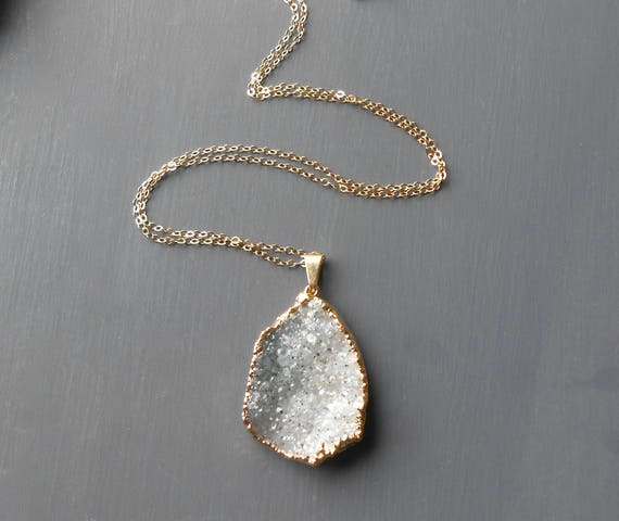Gold Druzy Necklace, Gold Fill Pendant Necklace with Gray Druzy