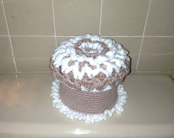 Toilet paper cover white and oatmeal