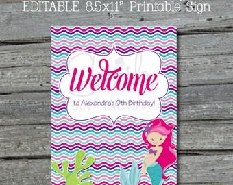 Mermaid Party Welcome Sign | Editable Custom Mermaid Sign | Mermaid Tail | Digital download | Mermaid Party Ideas | Printable Purple Pink