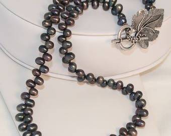 Pearl Necklace Wine Lovers Grape Leaf Silver Clasp Deep Purple Grey Shimmer Shimmer