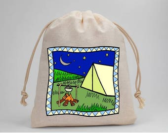 Camping, Birthday Party, Drawstring Bags, Party Bags, Muslin Bags, Candy Bags, Treat Bags, Favor Bags, 5x7, Gift Bags
