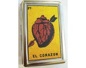 Loteria metal wallet retro cigarette case Mexicana Spanish ID case