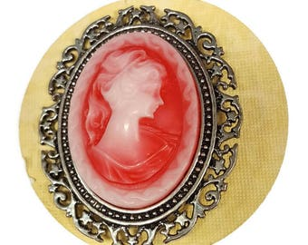Red Lady Cameo Pin