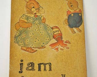 Vintage Teachers Hand Made Flash Cards  J is for Jam      Letter J      Hand Made Flash Card
