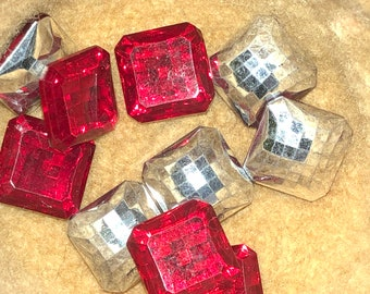 12 Faceted Square Stones with Foil Back 22 mm