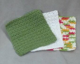 Dish cloths Wash cloths 100% cotton - green