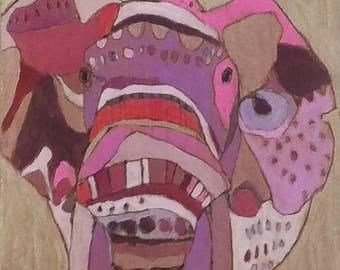ORIGINAL Elephant painting on wood by Jennifer Mercede