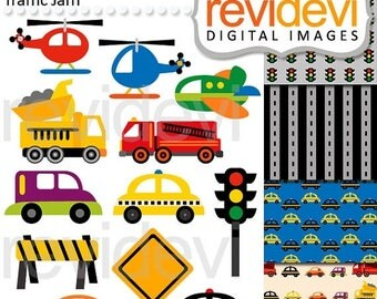 35% OFF SALE Transportation clip art / digital images / City Traffic Jam Clip arts 07512