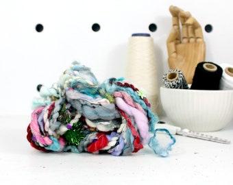 party pom pom 2    .. hand spun yarn, art yarn, handspun art yarn, wool yarn, boucle yarn, bulky yarn, handspun wool yarn
