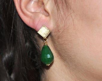 Emerald green earrings, Gold Earrings, Gemstone earrings,Ruby jade, Sterling Silver Post, Dangle Earrings, Fashion Jewelry
