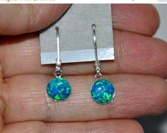 Opal Earrings,  Sterling Silver Earrings,  Teal Opals,  Lever Back Earwires,  8mm Stone,  Blue Green