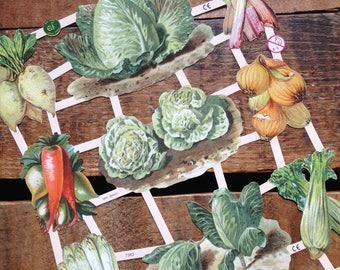 German Scraps - Vegetables, Garden - Die Cuts, Cut Outs, Reproduction, Vintage Style, Vintage Inspired, Paper Ephemera, Veggies, Food Paper