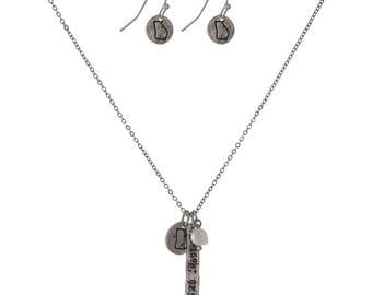 University of Georgia Charm Necklace and Earrings Set, Silvertone