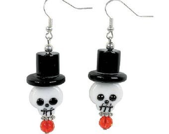 Creepy Skull Lampwork Earrings