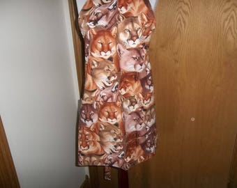 Apron Women's Full Apron Mountain Lion Cougar Reversible Front Pocket Chefs Apron Novelty Apron One of A Kind Handmade Hostess Gift Unisex