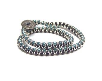 wrap bracelet,beaded double wrap bracelet, green wrap bracelet,black wrap bracelet,boho wrap  bracelet,teens,girls,boys,women,men