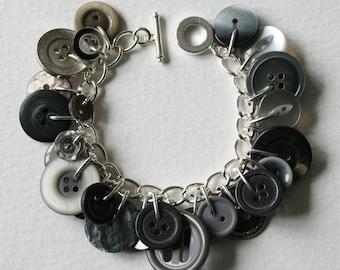Button Bracelet Stormy Gray Skies Grey Gray