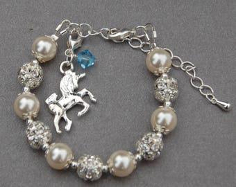Unicorn Jewelry, Unicorn Bracelet, Girls Gift, Daughter Present, Fantasy Bracelet, Unicorn Lover Gift, Birthstone Jewelry