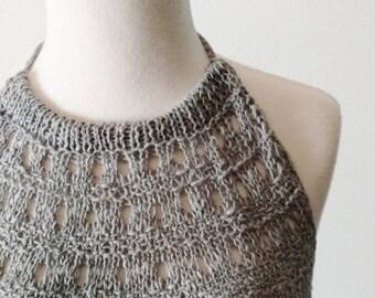 Handknit Light Grey  Haltertop - Backless Unlined Lace Knit Textured Layering Top in Cotton & Linen - Natural Fibers - Handmade - Summer