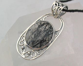Black Rutilated Quartz Filigree Pendant Handmade Jewelry Artisan Pendant Sterling Silver