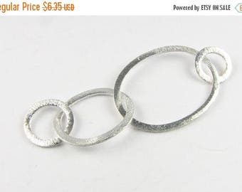 SHOP SALE Two Ovals and Two Round Shaped Bali Bright Sterling Silver Brushed Line Texture Loop Connector Eternity Rings Links (1 piece)