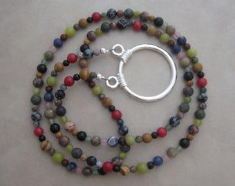 multi gemstone silver eyeglass chain holder loop necklace style