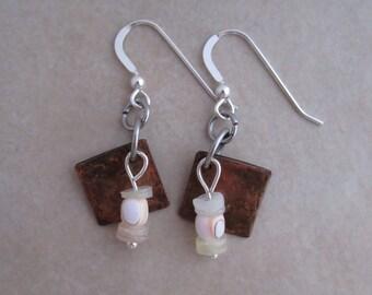 peachy shell earrings copper sterling silver