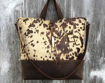Acid Washed Cowhide and Embossed Snakeskin Leather Tote Bag by Stacy Leigh
