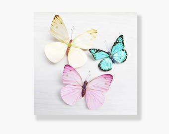 Butterfly photo canvas, pastel pink, yellow, lemon, blue, butterfly wall art, white, nursery wall art, girls room decor- She wishes on wings