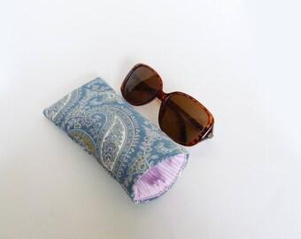 Glasses case, paisley fabric, blue and white paisley design, cotton case