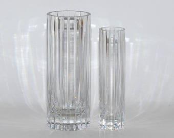 Vintage Baccarat Crystal Harmonie Vases, Flower Vase & Bud Vase, Pair