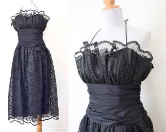SUMMER SALE/ 30% off Vintage 70s 80s Black Lace Halter Back Party Dress (size xs, small)