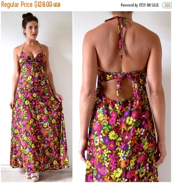 SALE SECTION / 50% off Vintage 60s 70s Floral Print Halter Back A Line Maxi Dress (size small, medium)