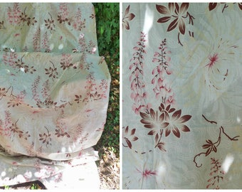 Vintage Antique  1890 /1900 French printed cotton fabric floral Chrysanthemum 3 yards x 33 inches