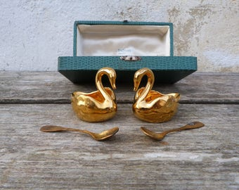 Vintage  French Limoges gilt Swans salt & pepper set /cruet