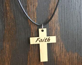 Faith Cross wood pendant Necklace