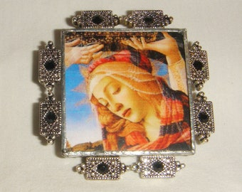 Bejeweled Virgin Mary Pin & Pendant Icon inv1821
