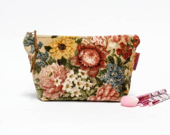 Velvet Cosmetic Bag, Vintage Fabric Makeup Bag, Pink Roses, Zipper Pouch, Bridal Cosmetic Bag handmade by EllaOsix