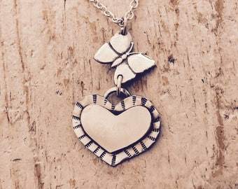 Sterling silver butterfly and big huge floating heart