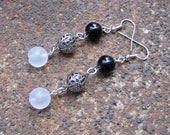 RESERVED (for Lori) Eco-Friendly Dangle Earrings - Call It a Night - Trio of Recycled Vintage Beads in Scrollwork Metal, Black & White Glass