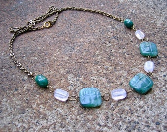 Eco-Friendly Statement Necklace - Jaded Outlook - Recycled Vintage Brass Chain and Clasp with Carved Faux Jade and Frosted White Beads