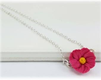 Tiny Cosmos Flower Necklace - Cosmos Jewelry, Pink Flower Jewelry, Pink Cosmos