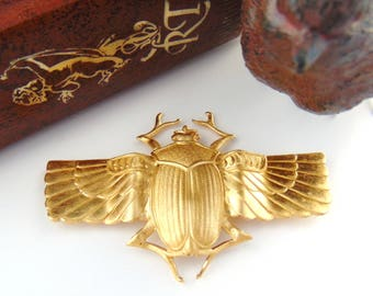 BRASS * Large Scarab With Wings Beetle Stamping ~ Jewelry Ornament Findings ~ Brass Stamping (C-403)