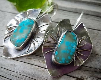 Turquoise Lilypad Leaf Earrings - Designer, Artisan Art, One of A Kind, Handmade Metalsmith Jewelry. Boho Cowgirl Style