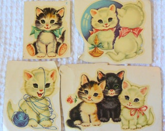 Vintage Meyercord Nursery Decals - Set of 4 Cute Kitten Decals -  Great for baby furniture